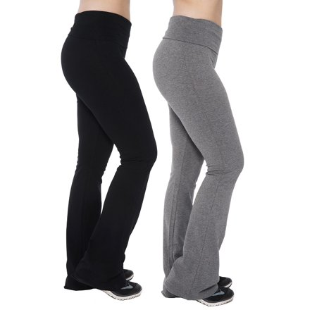 c6c3d5bf852977 Unique Styles - Fold Over Waistband Yoga Pants Cotton Stretchy Flared Boot  Leg Core Leggings - Assorted Sizes and Packs - Walmart.com