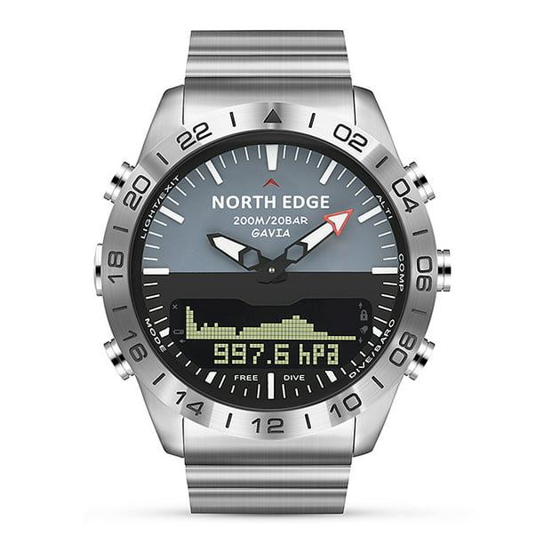 NORTH EDGE Men Sports Digital Analog Watch Diving Watch Full Steel Business...