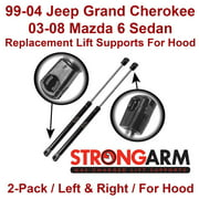Replacement Lift Supports Props Struts for HOOD on Jeep Grand Cherokee 1999 2000 2001 2002 2003 2004 and/or Mazda 6 2003 2004 2005 2006 2007 2008 - Qty 2, Left & Right, Strong Arm, 4048 PR, 4048PR