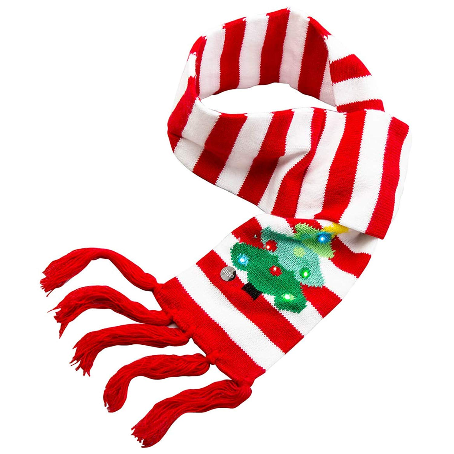 Lots a Lites! Flashing Christmas Winter Knitted Scarves (Red White Christmas Tree)
