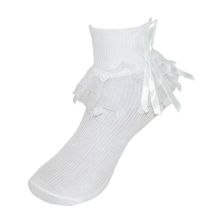 Girls' Lace Ruffle Anklet Sock with Pearl Accent,  White