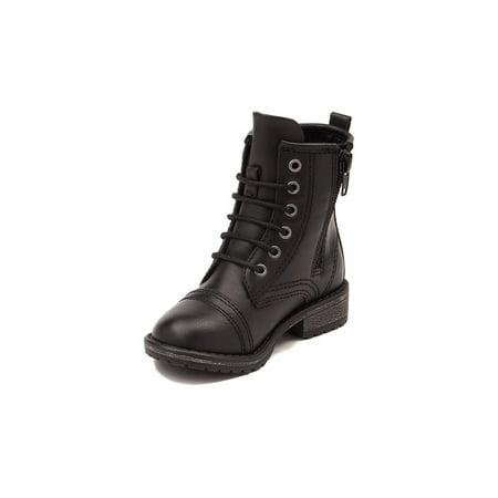 Madden Girl Girls Chandra Black Mid-Calf Zipper Combat Boots (Combat Boot Girls)