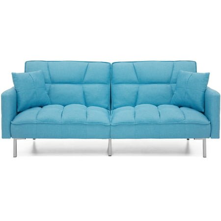 Convertible Sofa Bed Tufted Split Back Couch Pillows Teal