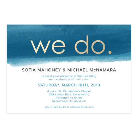 Personalized Wedding Invitation - We Do - 5 x 7 Flat