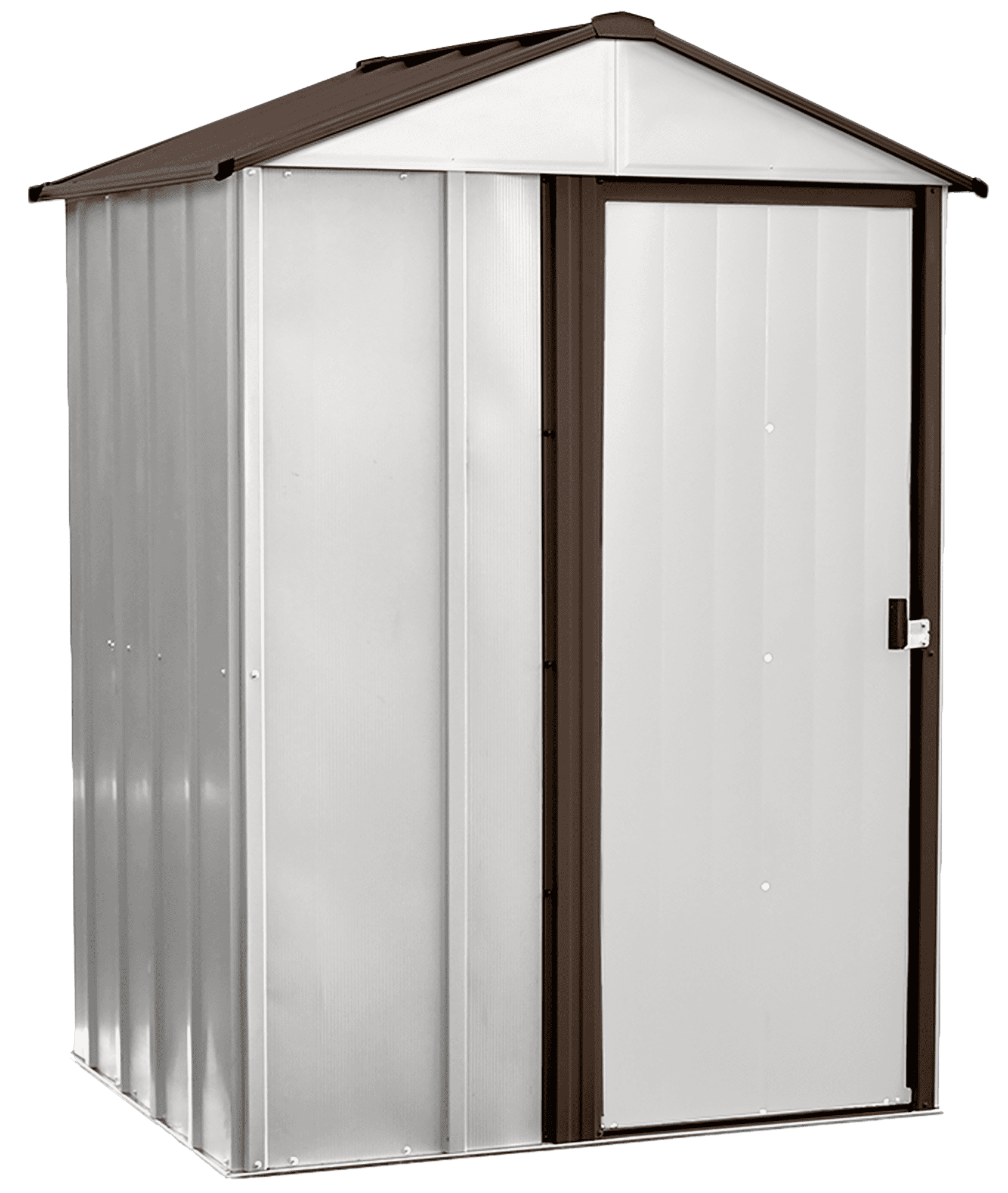 Newburgh 5x4-Foot Steel Storage Shed in Coffee/Eggshell
