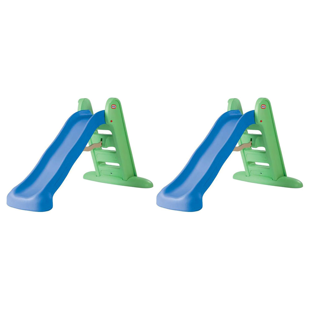 Little Tikes 5 Foot Easy Store Play Kids Folding Outdoor Backyard Slide (2 Pack)