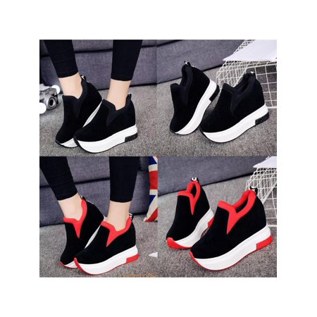 Goldfish Platform Shoes (Meigar Women Sneakers Platform Hidden Wedge High Heels Ankle Walking Casual)