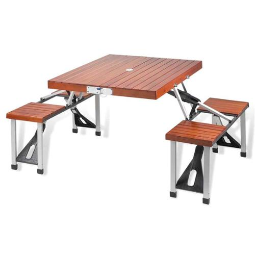 Foldable Picnic Table Seats 4 in Aluminum and Wood