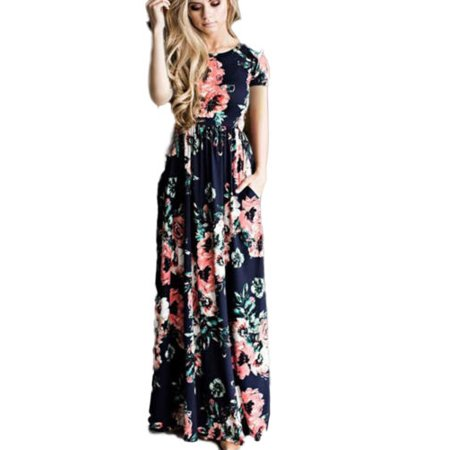 Women Floral Maxi Dress Short Sleeve Holiday Summer Evening Party Beach Sundress (Medieval Dresses For Women)