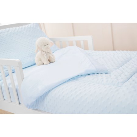 American Baby Company Heavenly Soft Minky Dot Chenille Toddler Bedding Set, Blue, 4 Piece, for Boys and Girls