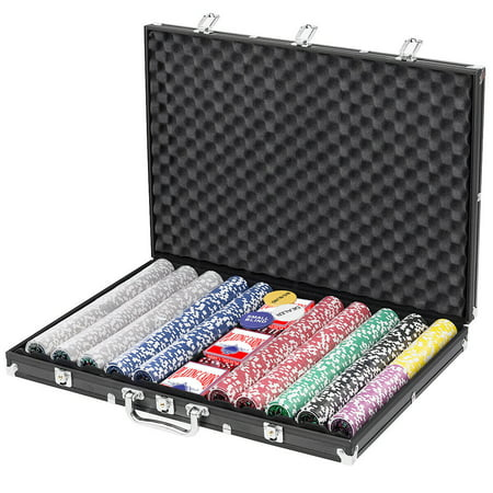Gymax 1000 Chips Poker Chip Set 11.5 Gram Holdem Cards Game with Black Aluminum