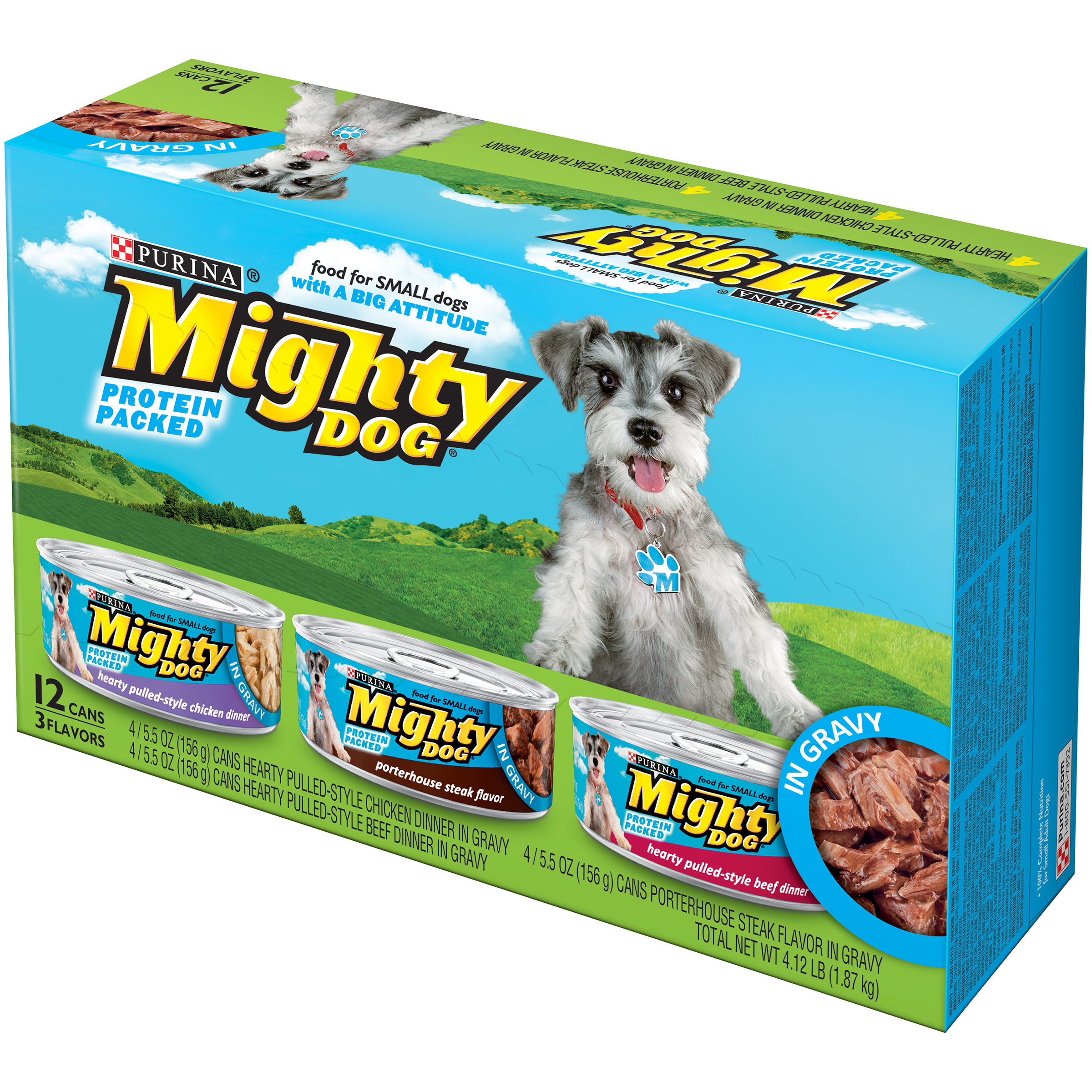 Purina Mighty Dog Savory Steak Flavor/Rotisserie Chicken Flavor/Chicken, Egg & Bacon Country Platter Dog Food Variety Pack 12-5.5 oz. Cans