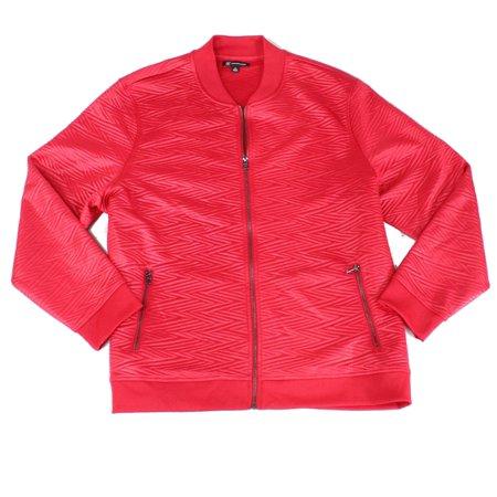 Mens Jacket Large Zip Pocket Slick Jacquard Full-Zip L Jacquard Zip Jacket
