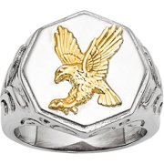 Stainless Steel Yellow IP-Plated Eagle Polished Ring, Available in Multiple Sizes