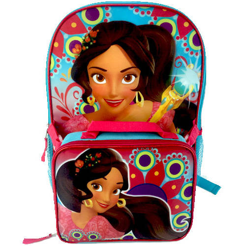 "Disney Elena of Avalor Trio 16"" Full Size Backpack w/ Detachable Lunch Bag"