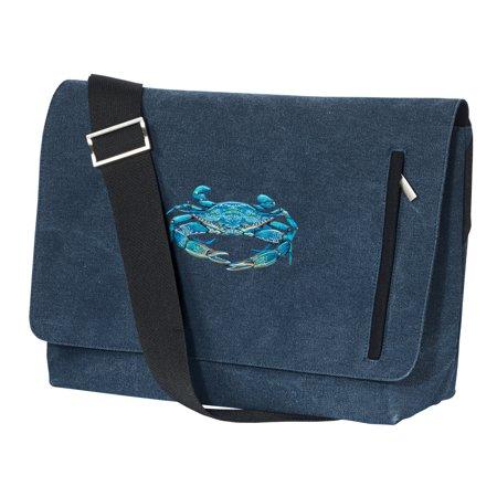 Blue Crab Messenger Bag Canvas Blue Crab Laptop Bag