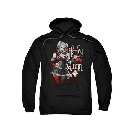 Batman Arkham Knight Harley Quinn Posing With Red Dice Adult Pull-Over Hoodie - Adult Batman Hoodie