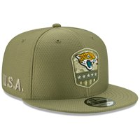 Jacksonville Jaguars New Era 2019 Salute to Service Sideline 9FIFTY Snapback Adjustable Hat - Olive - OSFA