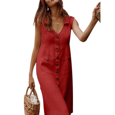 Fashion Vintage Dress For Women Casual Simple V-neck Sleeveless Dress Summer Holiday Beach Button Through Ladies Shirt Dress European and American Fashion Clothes Red