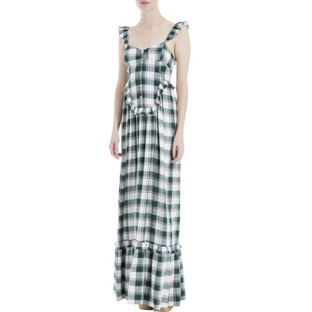 Max Studio Womens Plaid Ruffled Maxi Dress