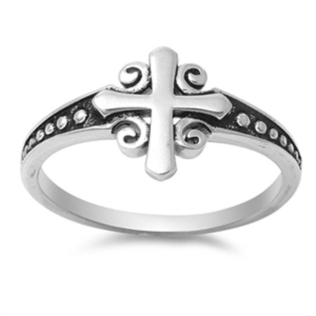 Women's Cross Classic Ring ( Sizes 4 5 6 7 8 9 10 ) New .925 Sterling Silver Bali Band Rings by Sac Silver (Size 5)