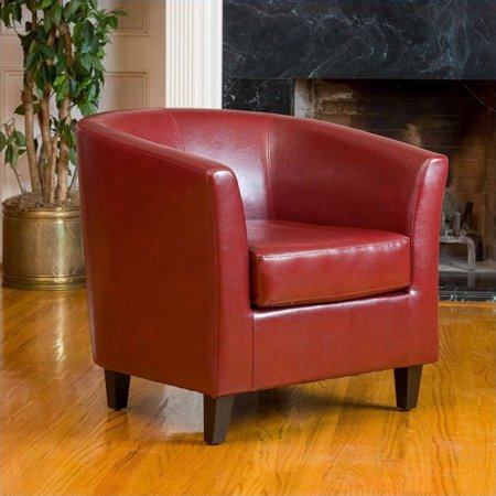 Trent Home Histoire Leather Club Chair in Red