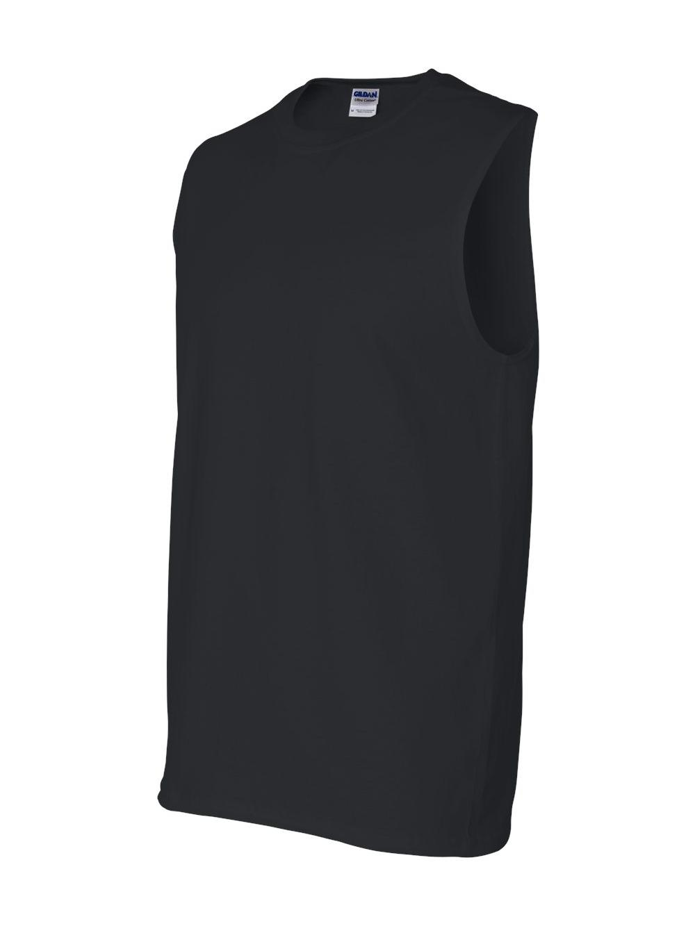 Gildan Mens Ultra Cotton Double Needle Sleeveless T-Shirt