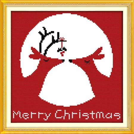 26 * 26cm DIY New Style Counted Cross Stitch Set Embroidery Needlework Kits Christmas Reindeer Pattern Cross Stitching Home Decoration 14CT