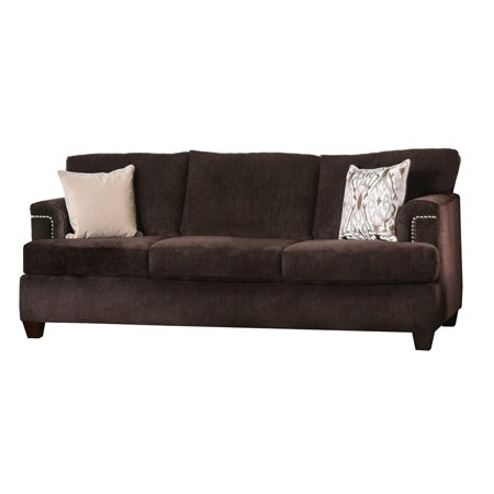 Furniture of America Bailey Brown Chenille Sofa in Brown