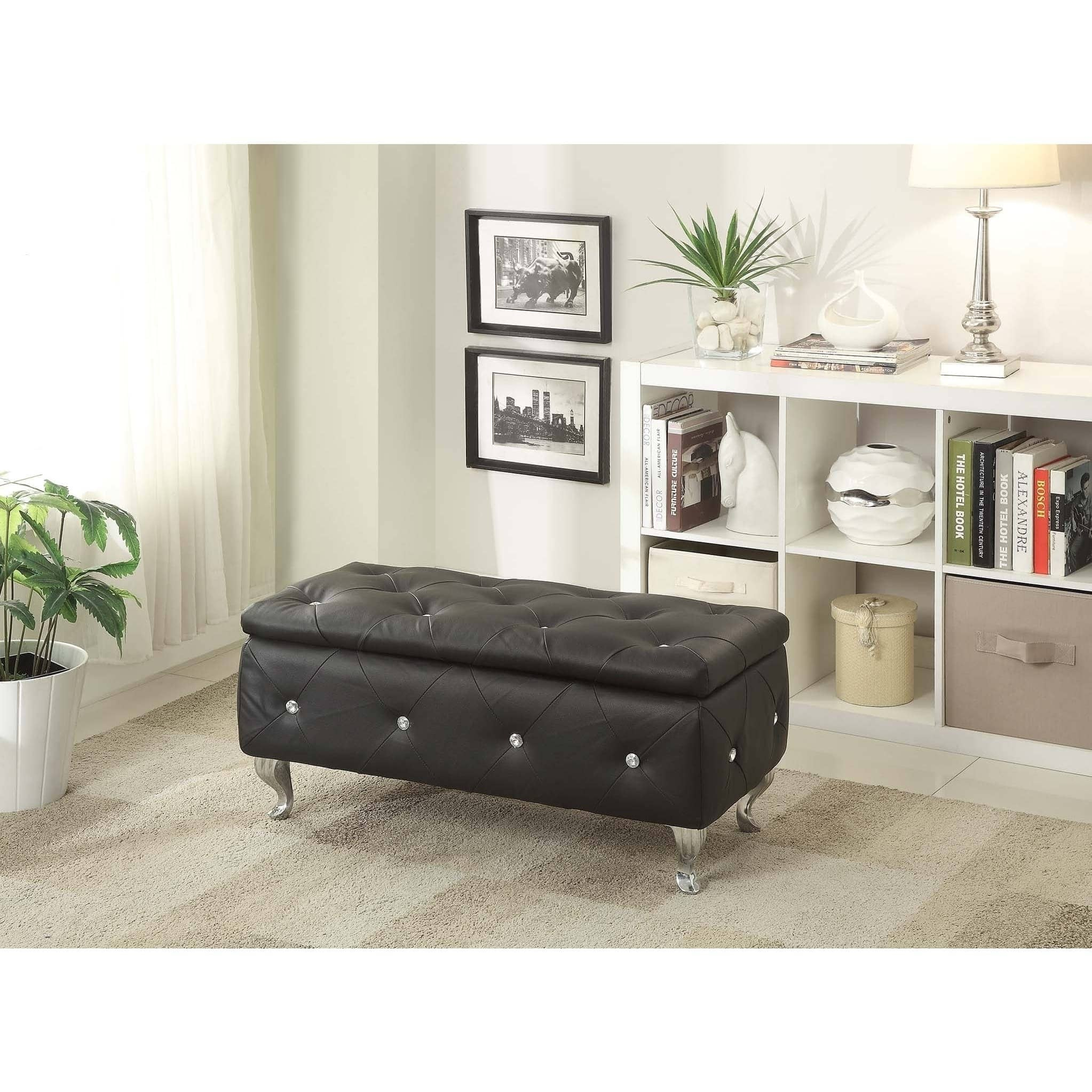 AC Pacific Glam Leather Upholstered Tufted Storage Bench