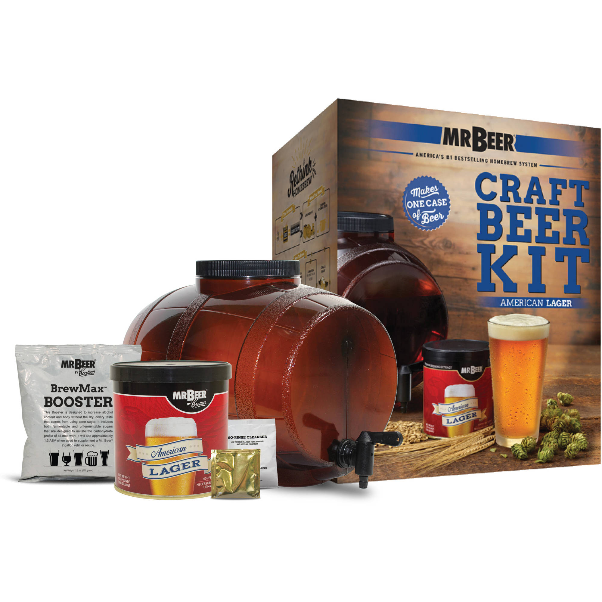 Mr. Beer American Lager Craft Beer Making Kit with American Lager Refill and Convenient Fermenter Designed for Simple and Efficient Homebrewing
