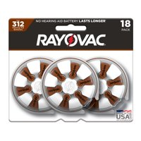 Rayovac Size 312 Hearing Aid Batteries, 18-Pack 312-18