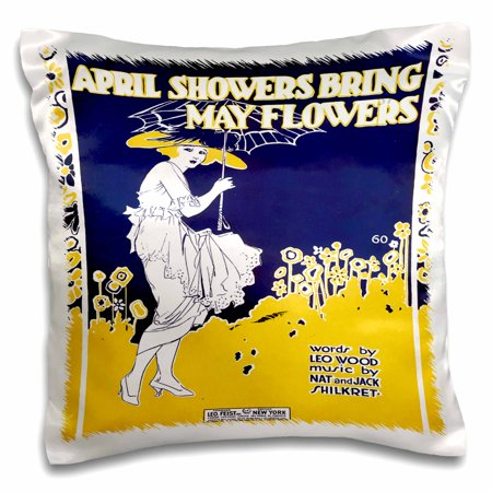 3dRose April Showers Bring May Flowers Blue and Yellow Song Sheet cover - Pillow Case, 16 by (Bed Intruder Song)