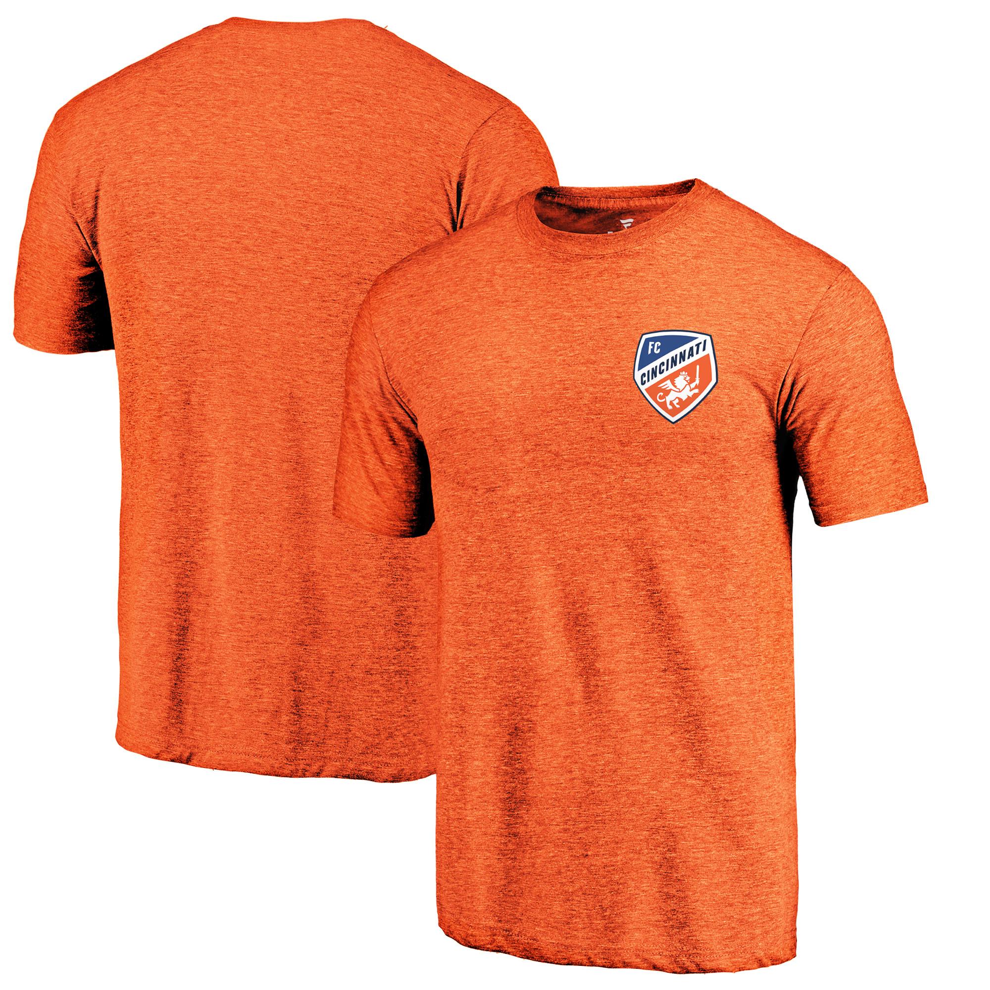 FC Cincinnati Fanatics Branded Primary Logo Left Chest Tri-Blend T-Shirt - Orange