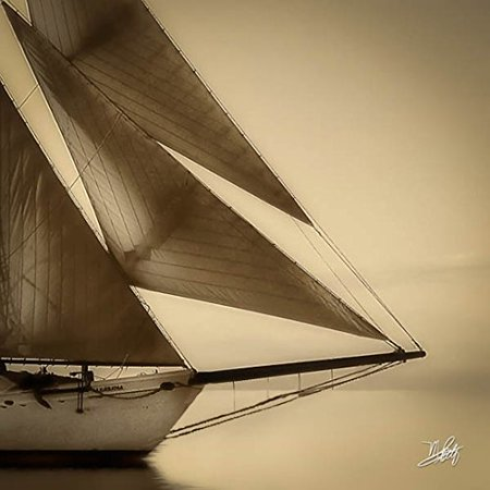 Quiet Inlet Sailboat  Sepia 12x12 Graphic Art Print Poster by Michael Petrizzo POD