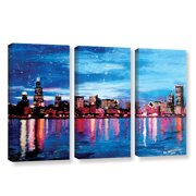 ArtWall Chicago Skyline At Dusk by Marcus/Martina Bleichner 3 Piece Painting Print on Wrapped Canvas Set
