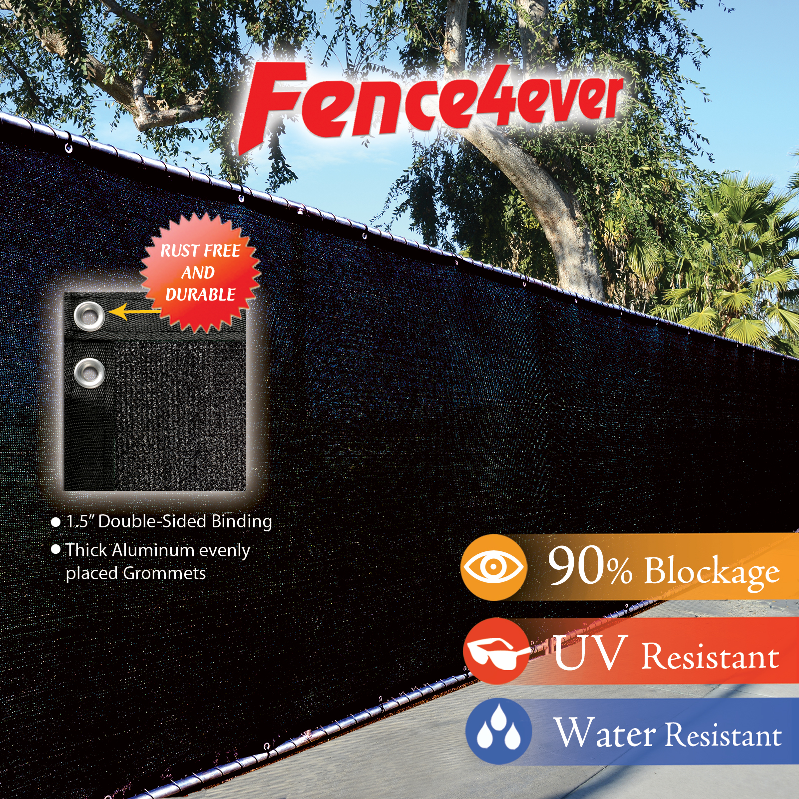 Fence4ever Black 6'x50' Fence Privacy Screen Windscreen Shade Cover Mesh Fabric Tarp