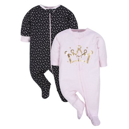 Gerber Organic Cotton Zip-Up Sleep N Play Pajamas, 2 Pack (Baby Girls), Newborn,