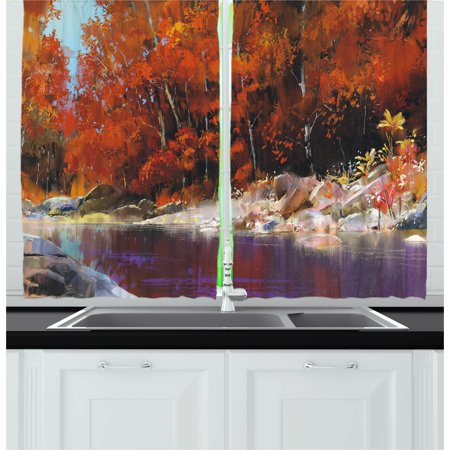 Nature Curtains 2 Panels Set, River with Rocks Autumn Forest Peaceful Artistic Paint of Scenic Woods Artwork, Window Drapes for Living Room Bedroom, 55W X 39L Inches, Ginger Purple, by Ambesonne