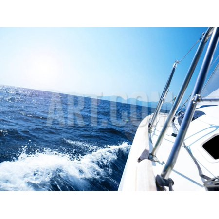 Wax Seal Sailboat - Photo of a 43 Foot Sailboat in Action, Speeding at Open Blue Sea, Parts of a Luxury Yacht Boat, Ext Print Wall Art By Anna Omelchenko