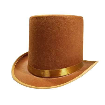 Deluxe Felt Gangster Hat - Nicky Bigs Novelties Tall Deluxe Felt Top Hat, Brown, One Size
