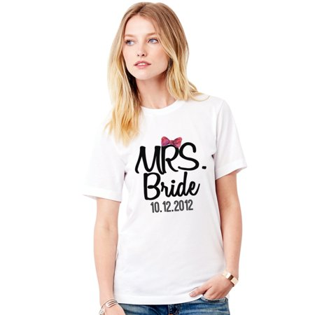 Mr Groom Mrs Bride Newly T-shirt For Women Honeymoon valentines day Relaxed Fit White Small