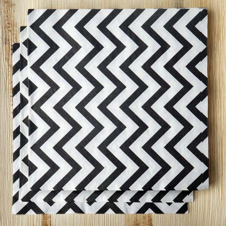 Efavormart Chevron Printed Restaurant Party Beverage Paper Napkins - Black and White  -  20 PCS ()