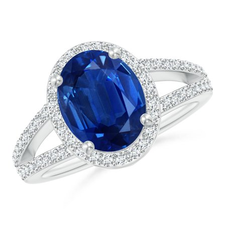 September Birthstone Ring - Oval Blue Sapphire Split Shank Halo Ring in Platinum (10x8mm Blue Sapphire) - SR0357S-PT-AAA-10x8-10.5