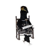 "27"" Black and White Lenore ""Nevermore"" Raven with Banner Halloween Table Top Decoration"