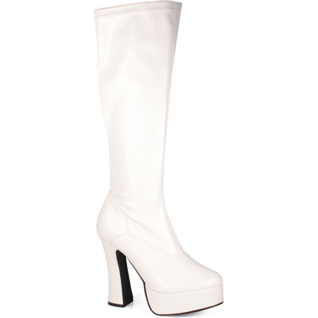 3a226842ba2 5 Inch Heel Sexy Knee High Boot With Zipper Stretch Poly Boots White