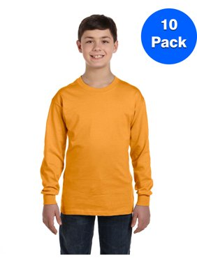 Boys 6.1 oz. Tagless ComfortSoft Long-Sleeve T-Shirt 5546 (5 PACK)