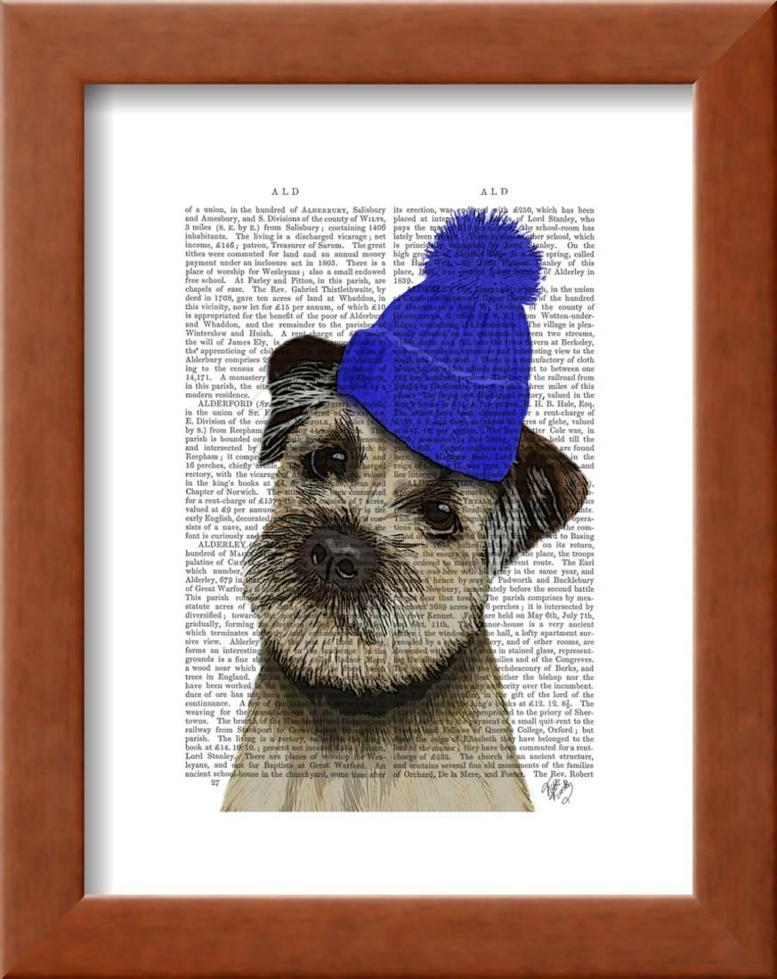 fba2e67a7 Border Terrier with Blue Bobble Hat Framed Print Wall Art By Fab Funky