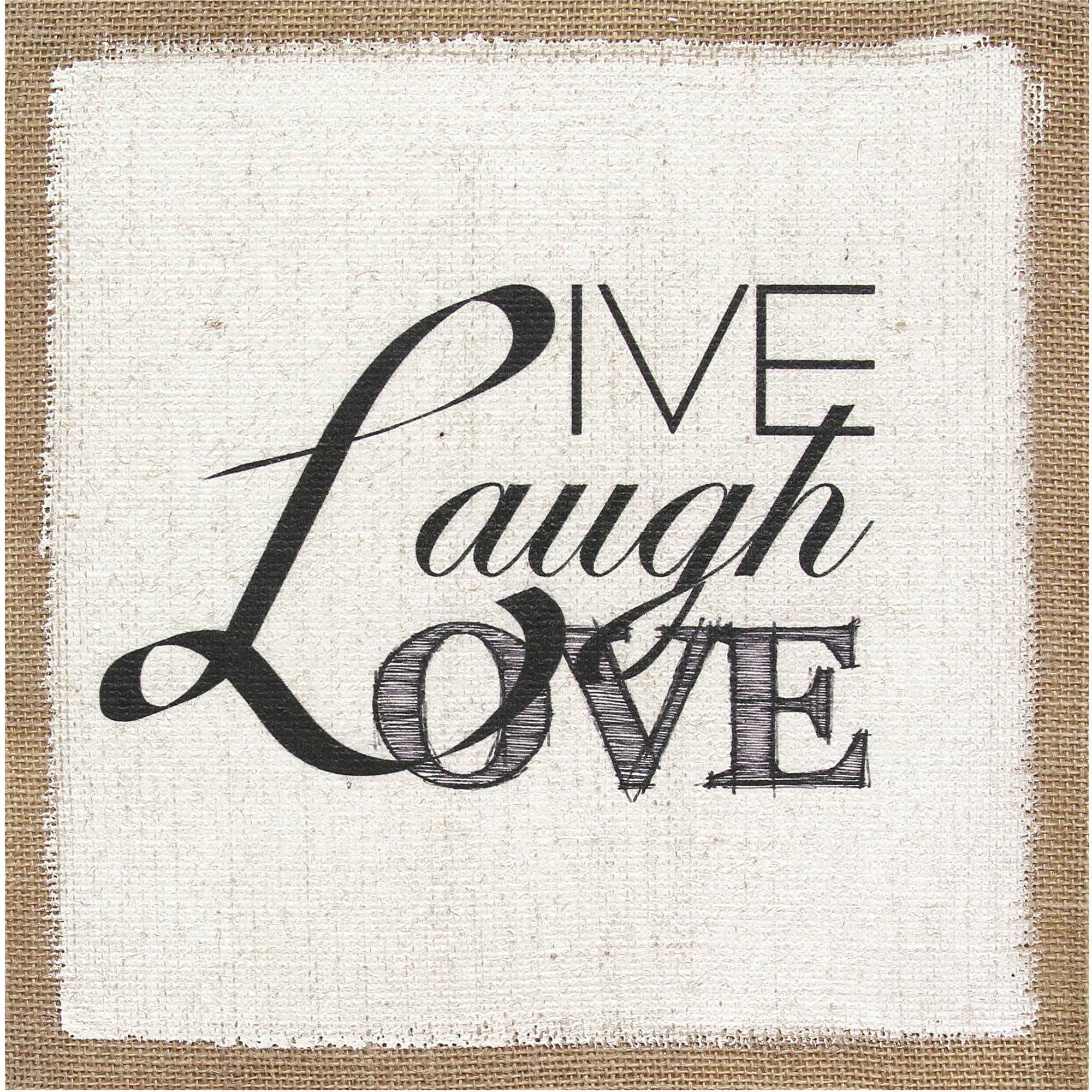 "Stratton Home Decor ""Live Laugh Love"" Burlap Wall Art"