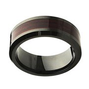 Men Women Ceramic Wedding Band Ring 8mm Beveled Edge Burgundy Wood Laminate Inlay Black Ring